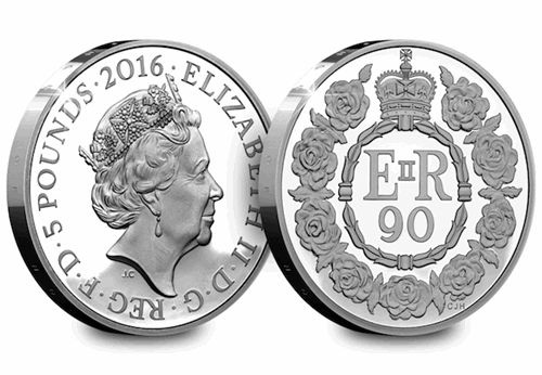 Queens 90th Silver Proof 5 Pound Coin Obverse Reverse