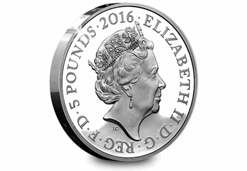 Queens 90th Silver Proof 5 Pound Coin Obverse