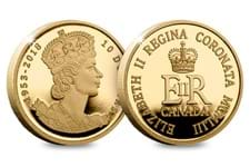 The Royal Canadian Mint has issued this Gold Proof 1/4oz coin to mark the 65th Anniversary of Her Majesty's Coronation.