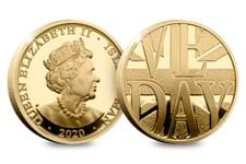 This special Gold Proof Sovereign has been issued in order to commemorate the 75th Anniversary of VE Day (Victory in Europe). The design features a Union Jack and VE Day text.