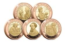 To commemorate the 150th Anniversary of the death of Charles Dickens. a Gold Proof £2 set has been issued by Jersey, struck from 22 carat gold, they feature Dicken's most famous novels and characters.