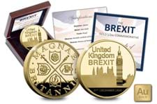 This Brexit Half Ounce Gold Proof Commemorative has been issued to mark the historic moment England leaves the EU.