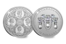 This Silver Proof coin has been issued by the Royal Canadian Mint to celebrate Her Majesty's 95th Birthday. Struck from 99.99% pure silver, it depicts the famous heirloom, the Lover's Knot Tiara.