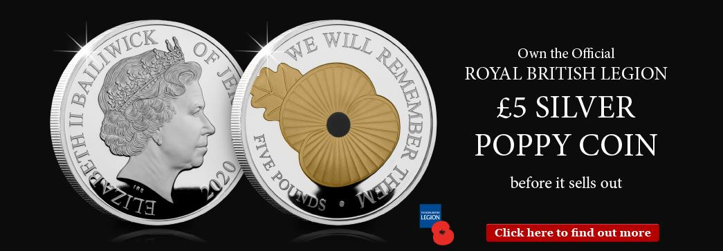 Own the Official Royal British Legion £5 Silver Poppy Coin before it sells out